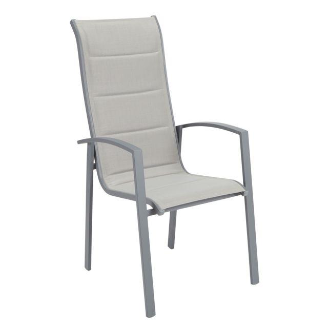 hyba fauteuil de jardin canberra haut dossier gris pas cher achat vente fauteuil de. Black Bedroom Furniture Sets. Home Design Ideas