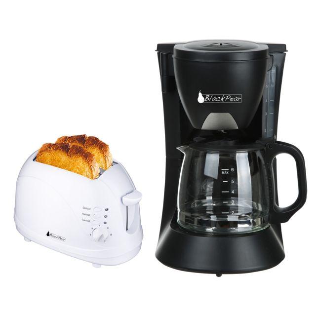 Blackpear Cafetière 6 tasses 650W noire + Grille pain 2 fentes blanc 700W fonction décongélation