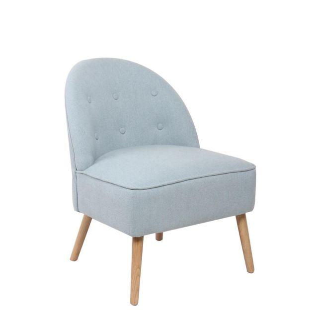 Kayelles Cadis fauteuil cocktail capitonné Bleu azurin