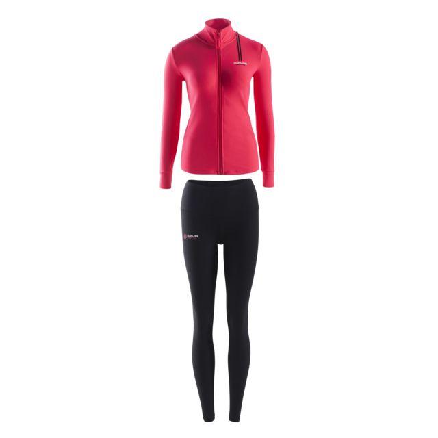 Duruss Veste Rouge + T-shirt Manches Courtes Blanc + Legging Long Rouge + Blanc + Noir