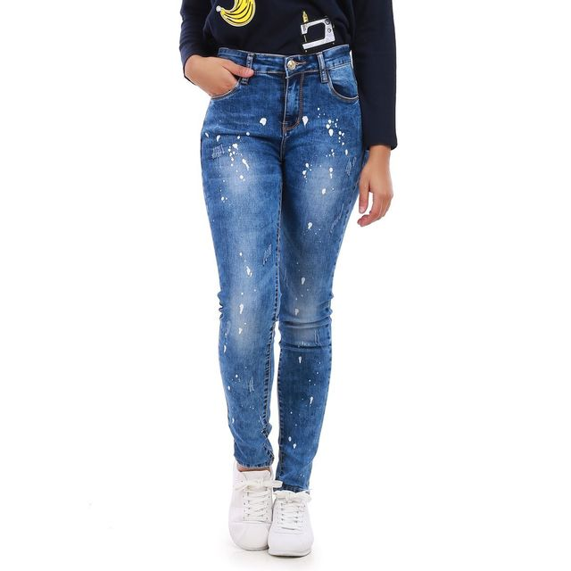 978c2a3bff4fa Lamodeuse - Jeans bleu effet tâches de peinture - pas cher Achat ...