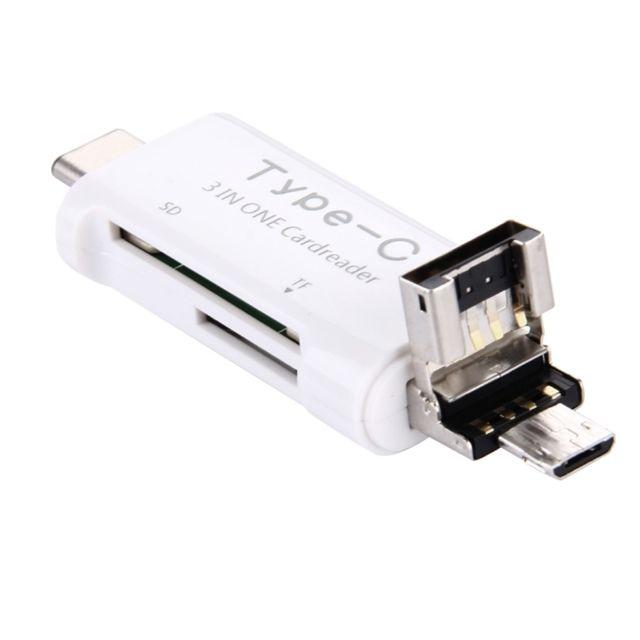 Wewoo - Pour Macbook / Google Chromebook blanc / Nokia N1 / 3 en 1 Usb-c / Type-C 3.1 à Usb 2.0 + Micro Usb + Sd Hc + Micro Sd Lecteur de carte Adaptateur