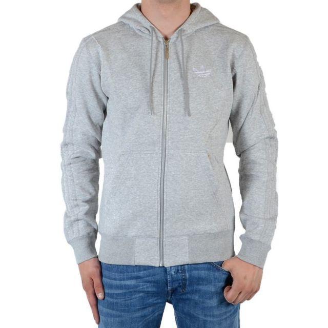 Veste Gris Vente V33049 Achat Spo Flock Cher Pas Hooded Adidas ABxqCS77