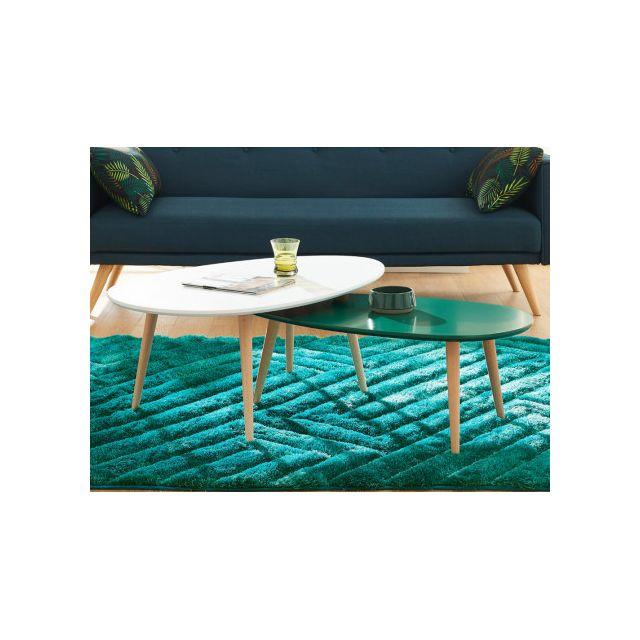 MARQUE GENERIQUE Tables basses gigognes PAMY - MDF laqué & hêtre massif - Blanc & vert