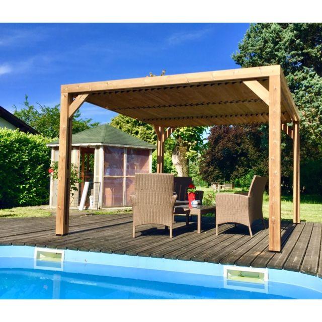 Pergola THERMAUVENT en bois thermo chauffé avec vantelles mobiles sur le  toit