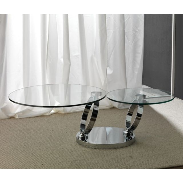Sofamobili Table basse en cristal transparent et acier inox design Maisa