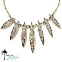 Collection Zanzybar - Collier fantaisie en plaqué or et petites palmes serties de brillants Palmyre