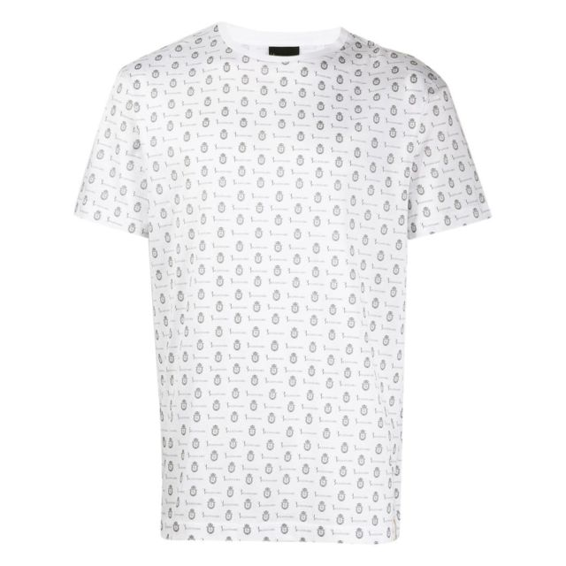 Billionaire Couture Homme W19CMTK3566BTE014N01 Blanc Coton T-shirt