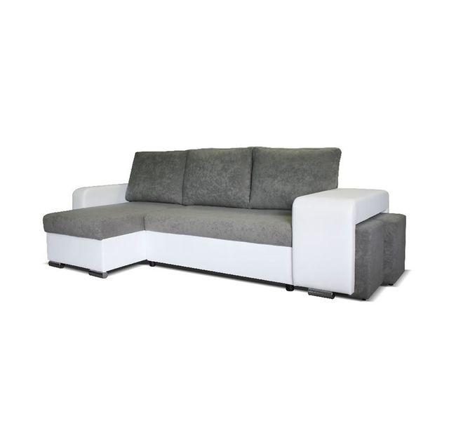 CHLOE DESIGN Canapé d'angle convertible Lilou - microfibre - gris clair et blanc - Angle gauche