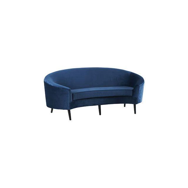 Canapé lingot 204x102xH87,5cm en velours bleu nuit