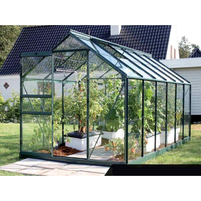 LAMS - Serre de jardin en verre Vénus 7,40 m² + Base - Vert - pas ...
