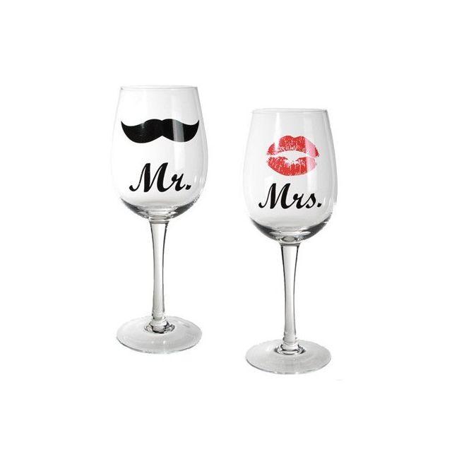 Totalcadeau 2 verres à vin Mr & Mrs - Anniversaire mariage St Valentin amour