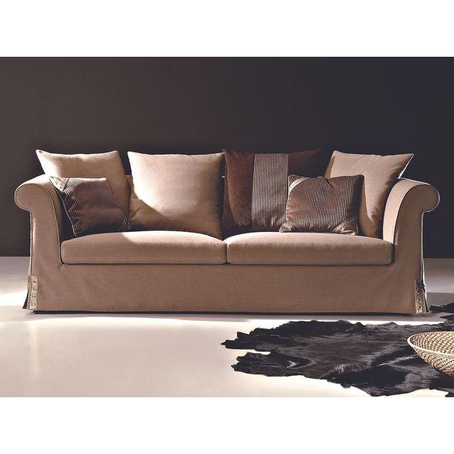 la maison du canap canap 3 places en tissu dalia beige 99cm x 72cm x 229cm achat vente. Black Bedroom Furniture Sets. Home Design Ideas