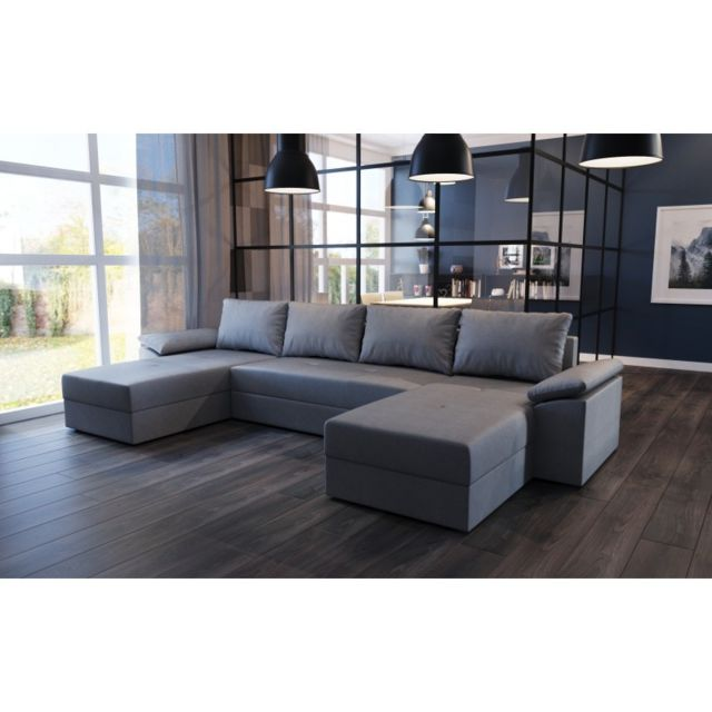 meublesline canap d 39 angle panoramique convertible dallas tissu gris design sebpeche31. Black Bedroom Furniture Sets. Home Design Ideas