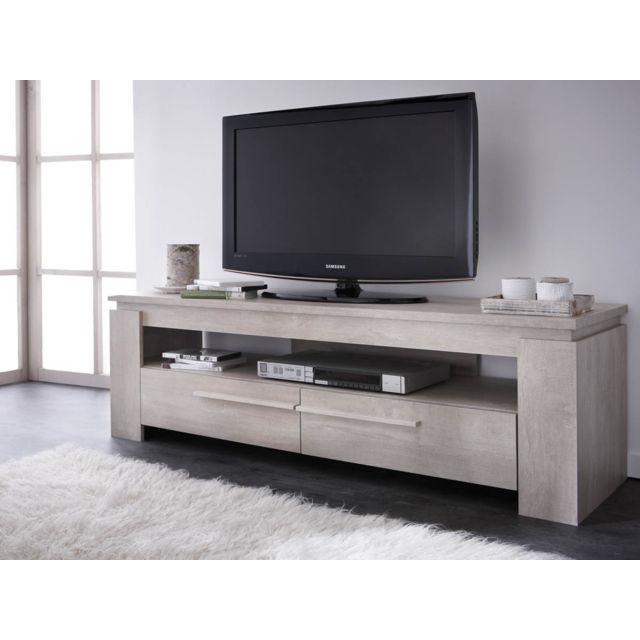 HABITAT ET JARDIN - Banc TV Segur - 140 x 42 x 47 cm - Chêne champagne