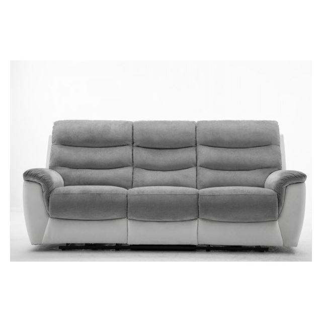 Moloo Canapé 3 places tissu gris et Pu blanc Relax électrique Arona