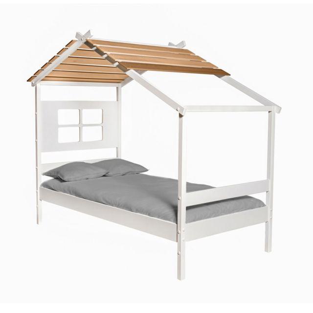 Tousmesmeubles Lit cabane 90 190 cm Bois/Blanc - Odette