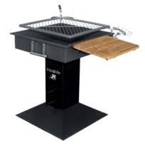 Kemper - Barbecue à charbon de bois grille Inox carrée Rotative 50 X 50 cm tablette bois et crochets