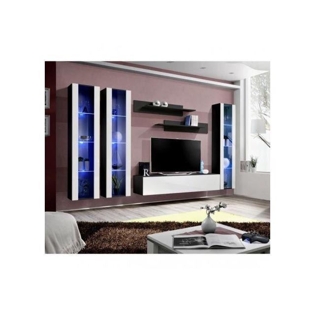 Price Factory Meuble Tv Fly C2 Design Coloris Noir Et Blanc