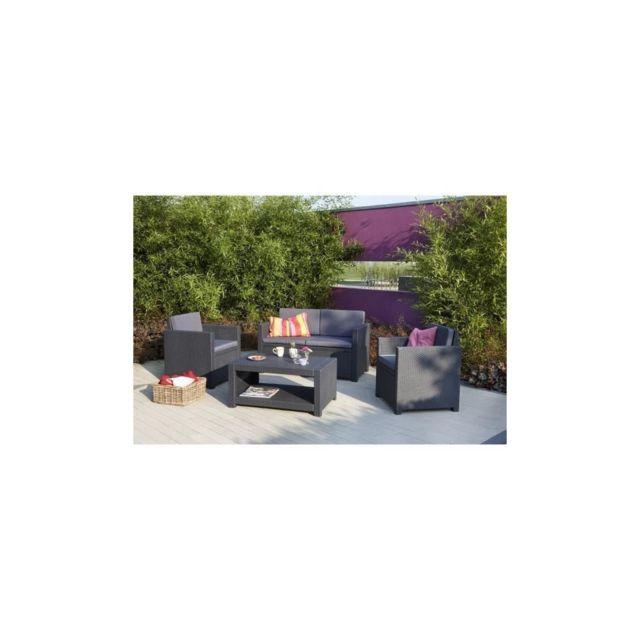 Allibert Salon de jardin Monaco 4 places imitation resine tressee - Gris