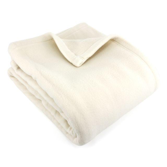 linnea couverture polaire 240x260 cm 100 polyester 350 g m2 teddy blanc naturel pas cher. Black Bedroom Furniture Sets. Home Design Ideas