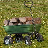 IDMARKET - Chariot remorque de jardin vert basculant
