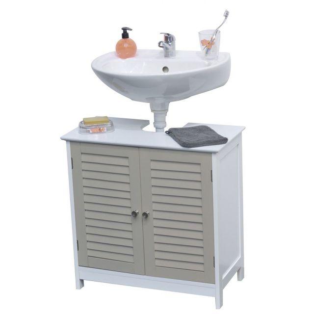 Galet meuble sous lavabo 60 cm blanc et taupe vendu par - Meuble sous lavabo 60 cm ...