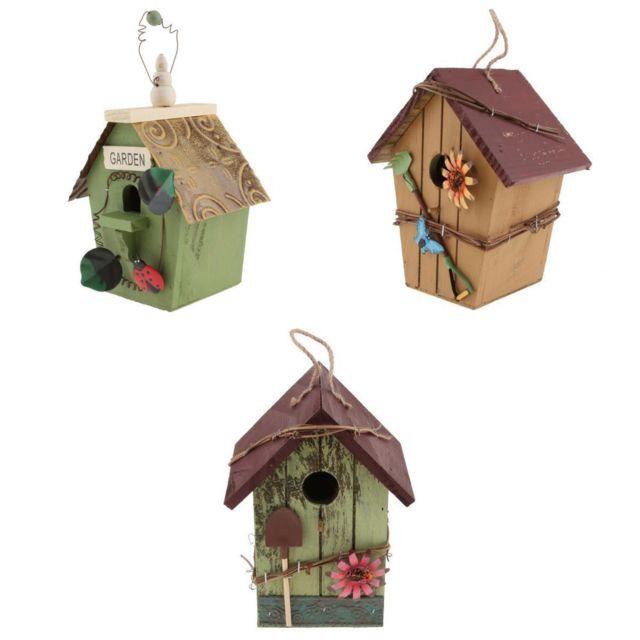 3x Maison En Bois En Bois Nid Maison D'oiseau Nichoir W / Corde Suspendue Pour Jardin