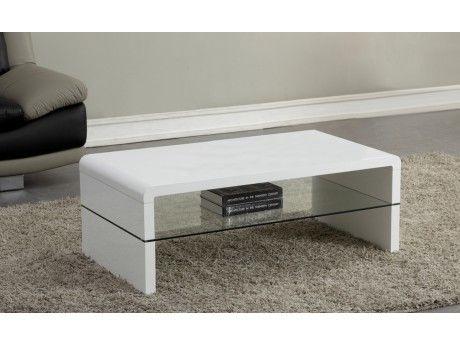 Vente Unique Table Basse Shirley Mdf Laque Blanc Et Verre