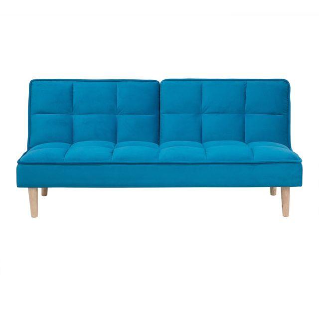 BELIANI Canapé convertible bleu SILJAN