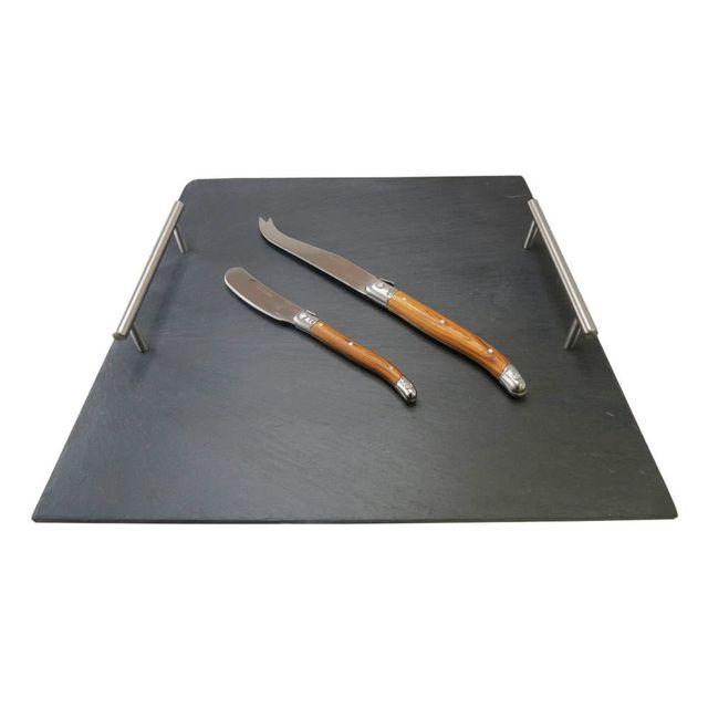 Lebrun Plateau à fromages en ardoise avec 2 couteaux Laguiole Slate