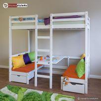 Homestyle4U - Lit enfant mezzanine superpos? blanc 90x200 pin massif bureau avec coussins oranges