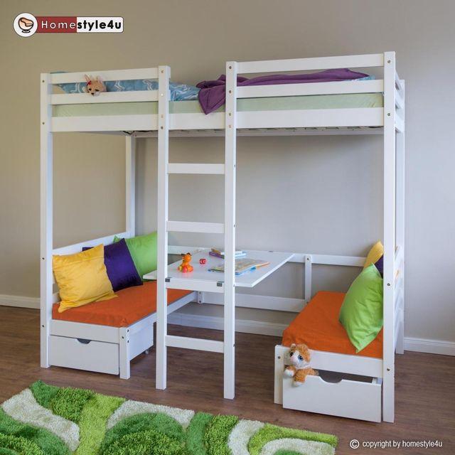 homestyle4u lit enfant mezzanine superpos blanc 90x200 pin massif bureau avec coussins. Black Bedroom Furniture Sets. Home Design Ideas