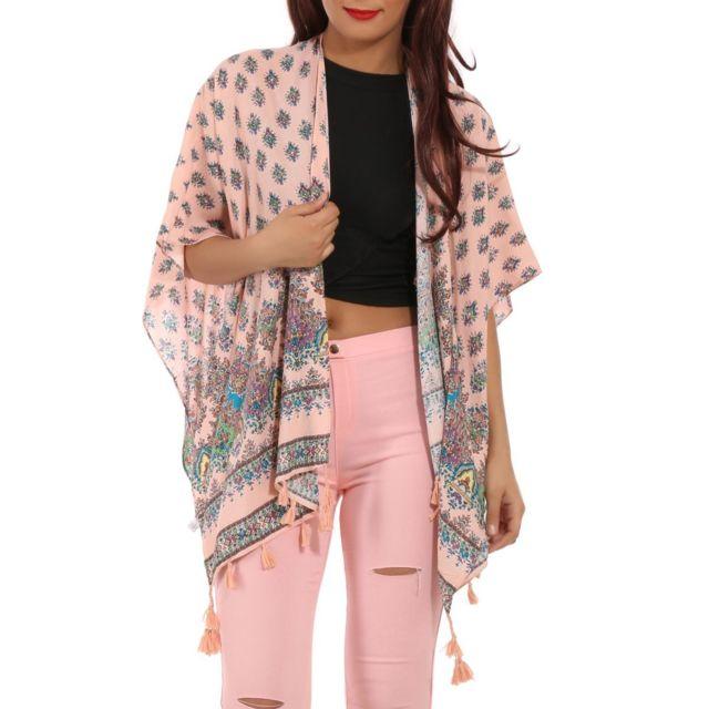 La Modeuse - Kimono rose avec motif aztèque - pas cher Achat   Vente ... cd145d21af83