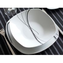 Axe Design - Service de table carré 30 pièces en porcelaine Zigzag - Noir