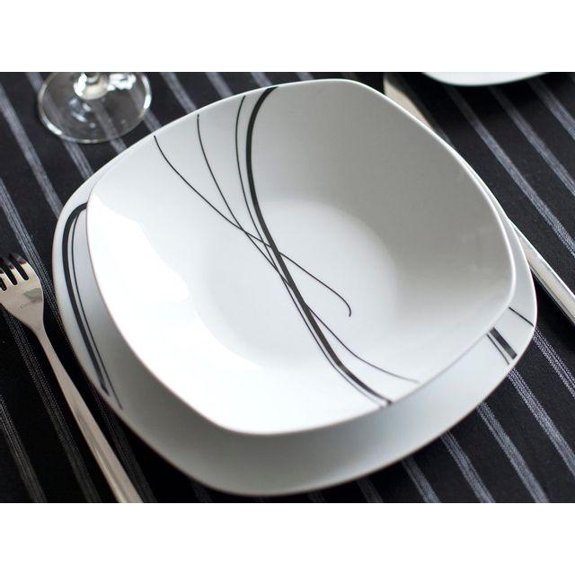 dd978fcf0662d Dlm - Service de table en porcelaine noir 30 pièces Zigzag - pas ...