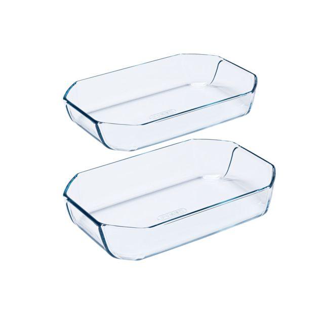 PYREX Lot de 2 plats à four en verre rectangulaires 30x20cm + 33x22cm Inspiration dans une boîte