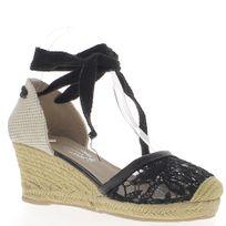 Chaussmoi - Espadrilles compensées femme noires à talons de 7 cm aspect dentelle et toile de jute à lacets