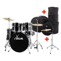 """Xdrum - Semi 22"""" batterie standard Midnight Black Xl Set incl. pied cymbale + cymbales crash + housses"""