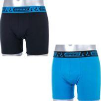 Rx Sport - Lot de 2 Boxers Homme Microfibre Soft Bleu Noir