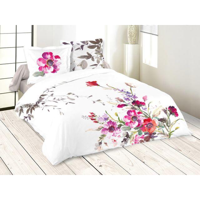 stof parure housse de couette 100 coton taies fleurs aquarelle fond blanc bourrache. Black Bedroom Furniture Sets. Home Design Ideas