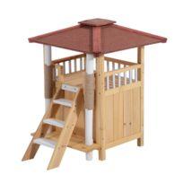 PAWHUT - Niche villa pour chien chat terrasse couverte échelle griffoir coloris bois naturel et bordeaux 77