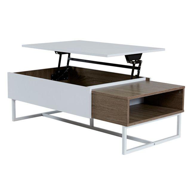 Marque Generique Table basse rectangulaire en bois avec plateau relevable Blanc / Chêne Forest