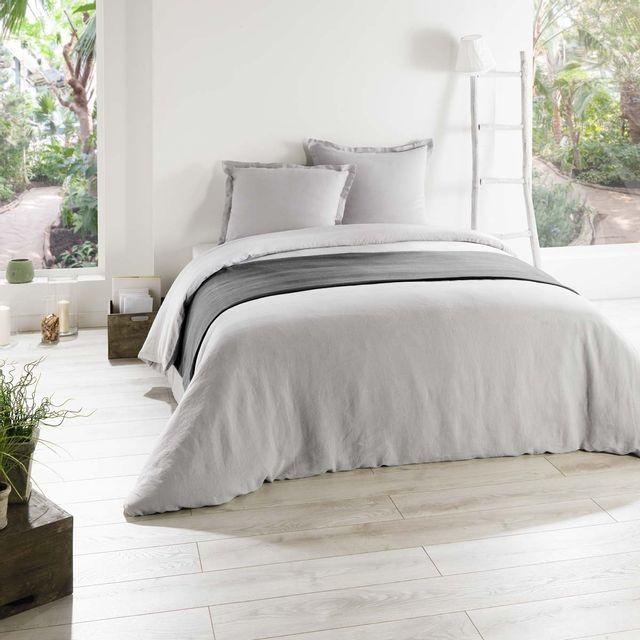 c design home housse de couette lin gris perle pas cher achat vente housses de couette. Black Bedroom Furniture Sets. Home Design Ideas