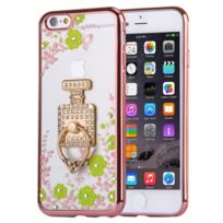 Wewoo - Coque Pour iPhone 6 & 6 s fleurs vertes et bouteilles de parfum motif diamant plaqué Tpu étui de protection avec support