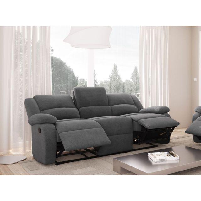USINESTREET Canapé Relaxation DETENTE 3 places Microfibre - Couleur - Taupe