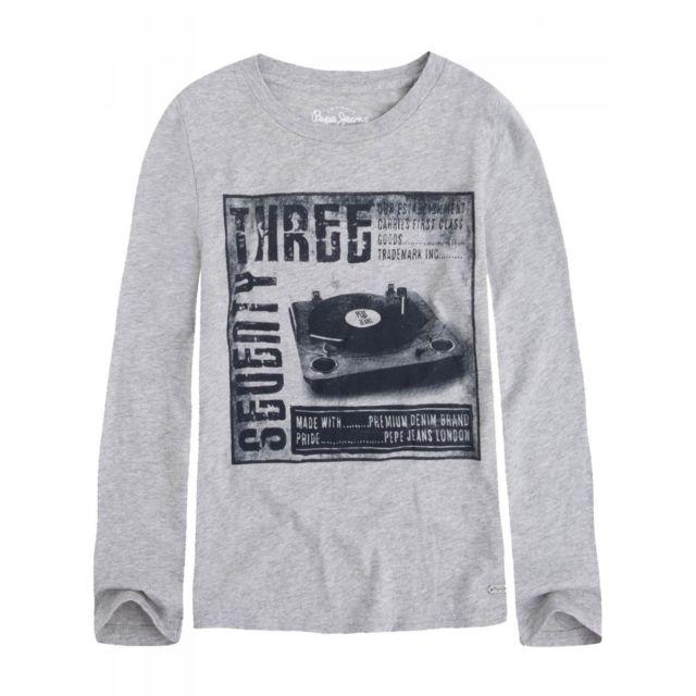 ae0ab5238 Pepe Jeans - T-shirt manches longues gris ado garçon - pas cher ...