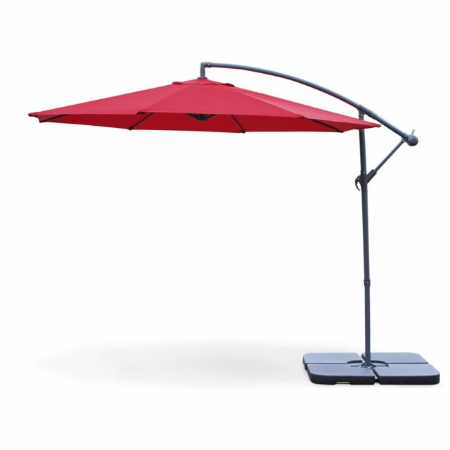 alice 39 s garden parasol d port rond 300cm hardelot rouge manivelle anti retour toile. Black Bedroom Furniture Sets. Home Design Ideas