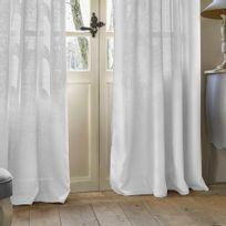 Rideau à œillets Folk lin 140 x 260 cm blanc