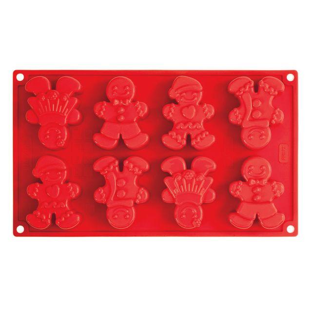 Pavonidea Moule en silicone platine 8 empreintes 4 décors bonhomme pain d'épice Gingerman